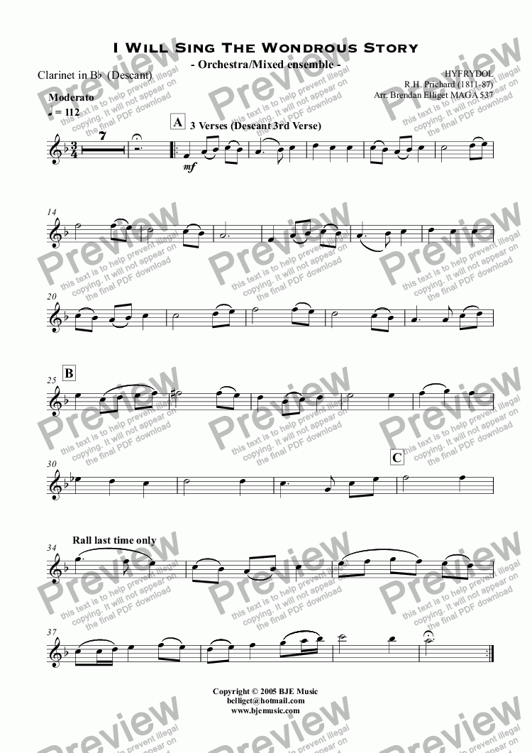 page one of the Clarinet in B^b  (Descant) part from I Will Sing The Wondrous Story (Hyfrydol) - Mixed Ensemble