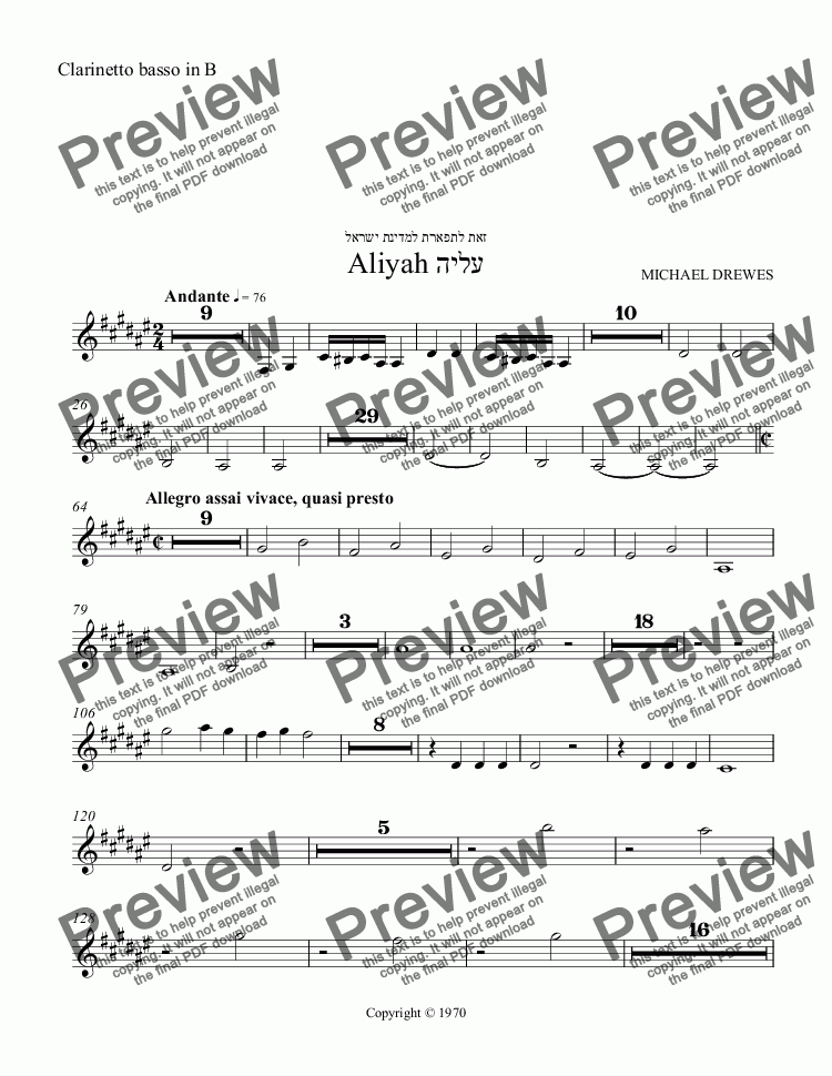 page one of the Clarinetto basso in B part from Aliyah - A Symphonic Movement