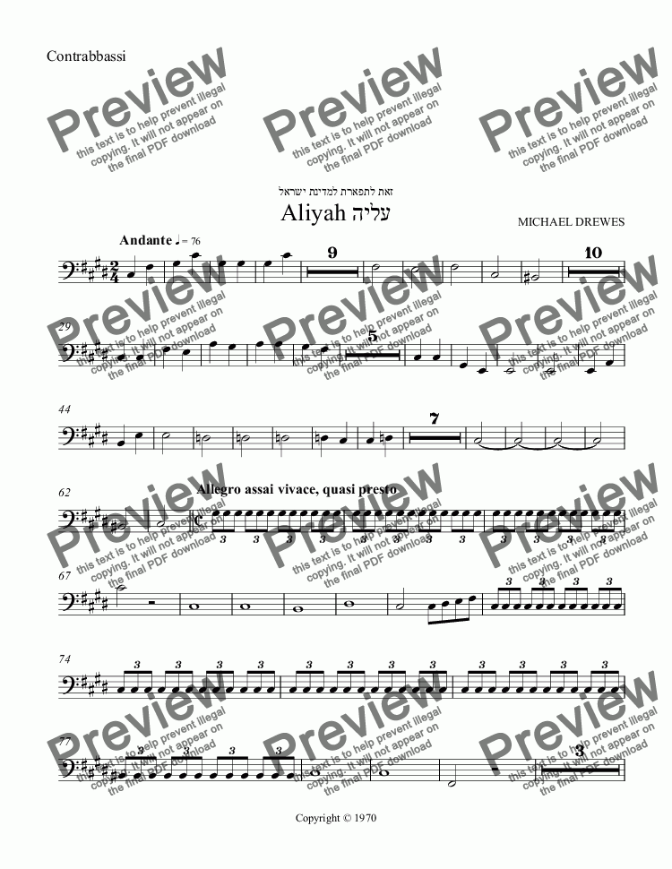 page one of the Contrabbassi part from Aliyah - A Symphonic Movement