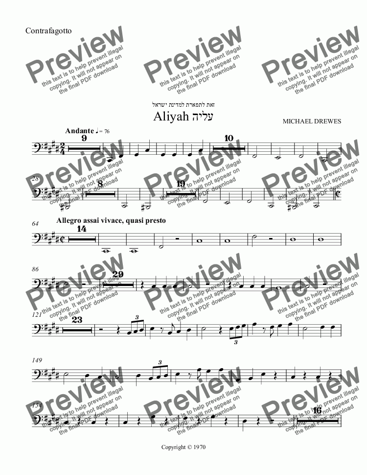 page one of the Contrafagotto part from Aliyah - A Symphonic Movement