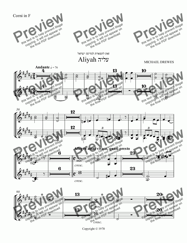 page one of the Corni in F part from Aliyah - A Symphonic Movement