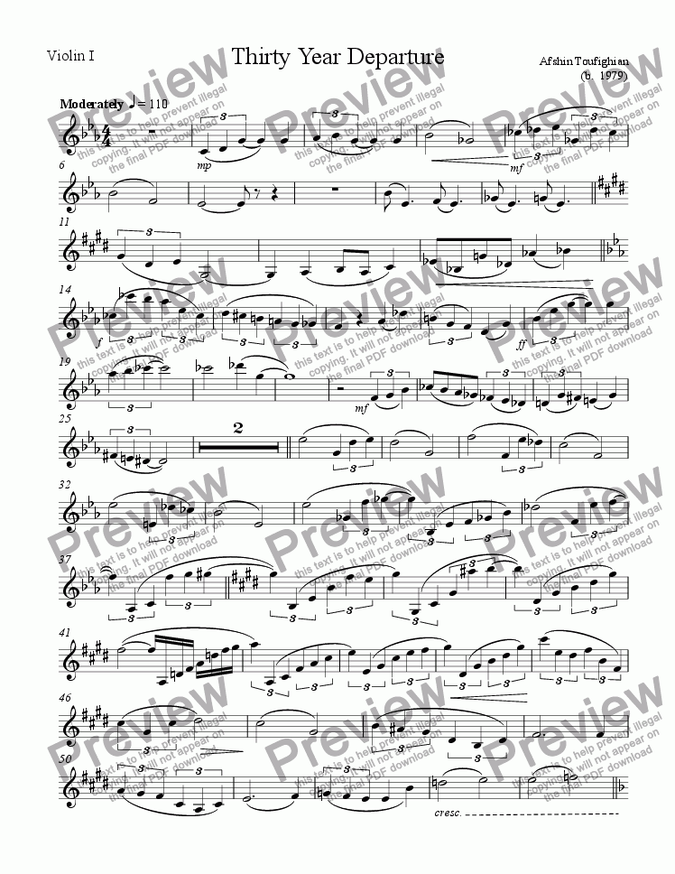 page one of the Violin part from Thirty Year Departure