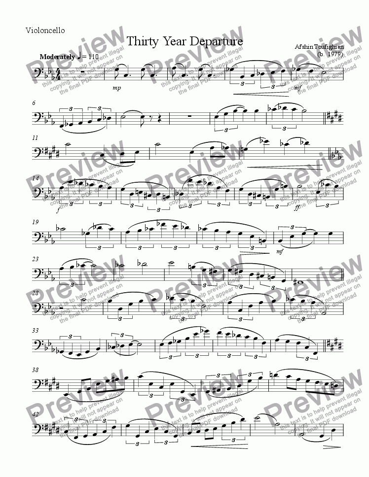 page one of the Cello part from Thirty Year Departure