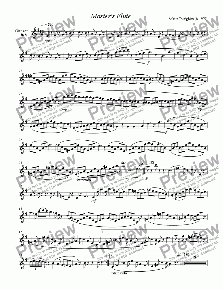 page one of the Clarinet part from Master's Flute