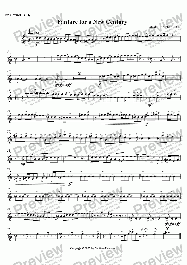 page one of the 1st Cornet Bb 1 part from Fanfare for a New Century - for Brass Band