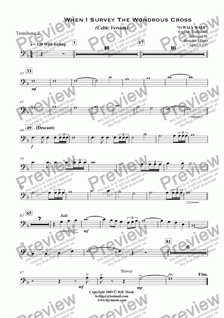 page one of the Trombone 2 part from When I Survey The Wondrous Cross (Celtic Version) - Concert Band