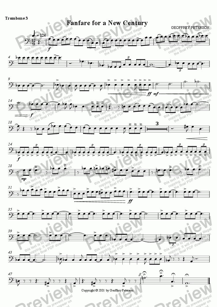 page one of the Trombone 3 part from Fanfare for a New Century - for Brass Choir