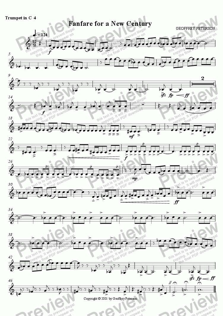 page one of the Trumpet in C 4 part from Fanfare for a New Century - for Brass Choir