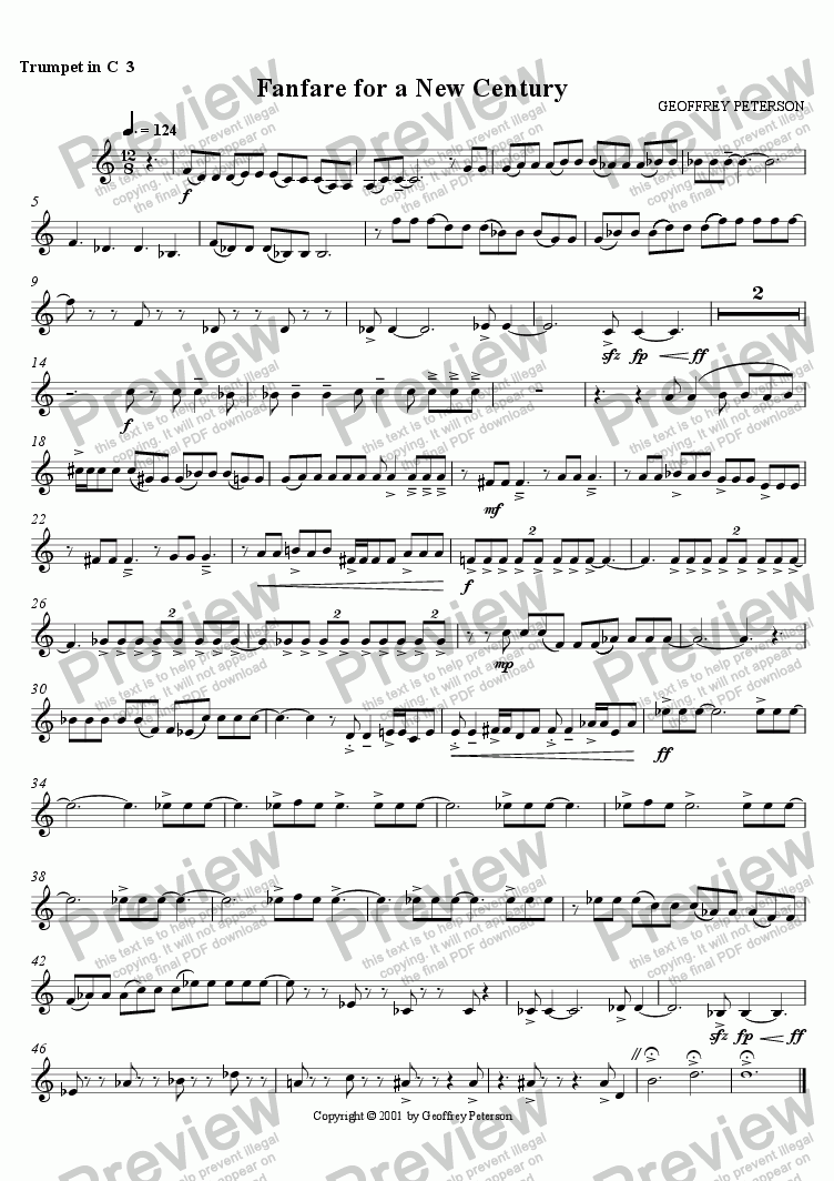 page one of the Trumpet in C 3 part from Fanfare for a New Century - for Brass Choir