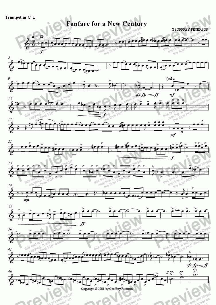 page one of the Trumpet in C 1 part from Fanfare for a New Century - for Brass Choir