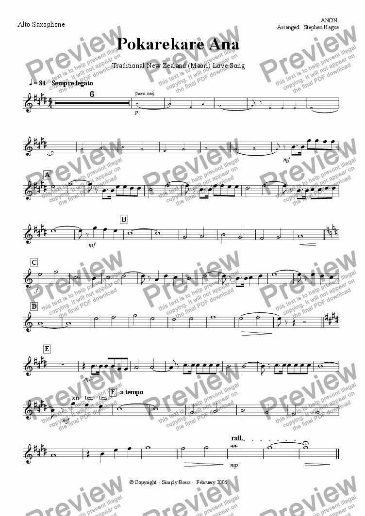 page one of the Alto Saxaphone part from Pokarekare Ana - (Maori) Love Song - Wind Band Version