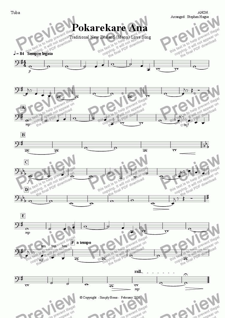 page one of the Tuba part from Pokarekare Ana - (Maori) Love Song - Wind Band Version