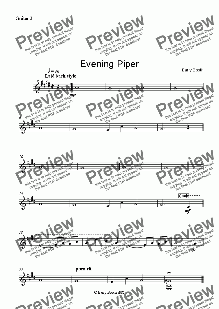 page one of the Guitar 2 part from Evening Piper (3 gtrs)
