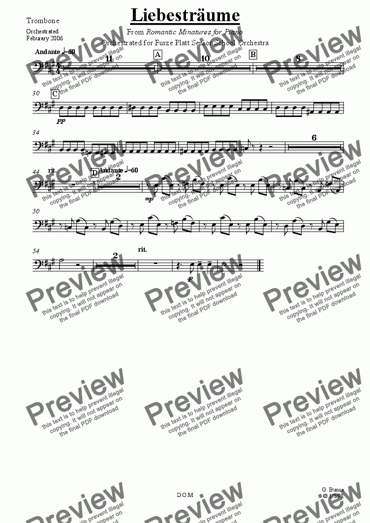 page one of the Trombone part from Libestr�ume (for Orchestra)