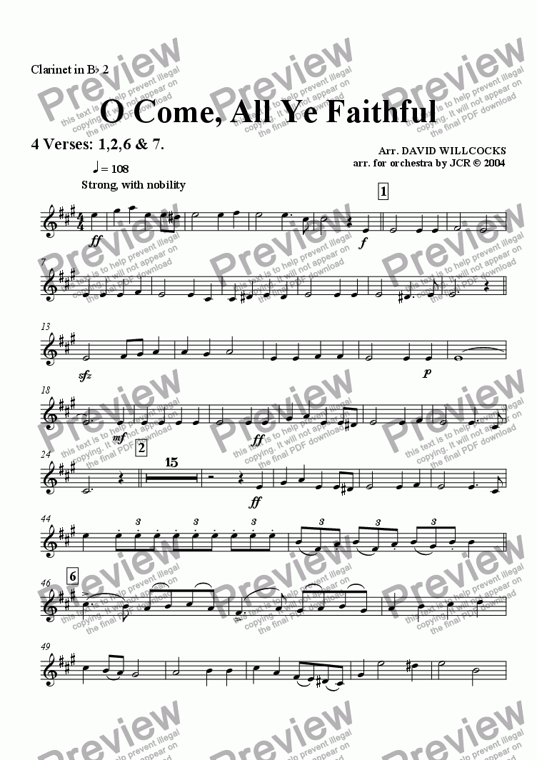 page one of the Bb Clarinet 2 part from O Come All Ye Faithful (Adeste Fidelis) - 4 verses
