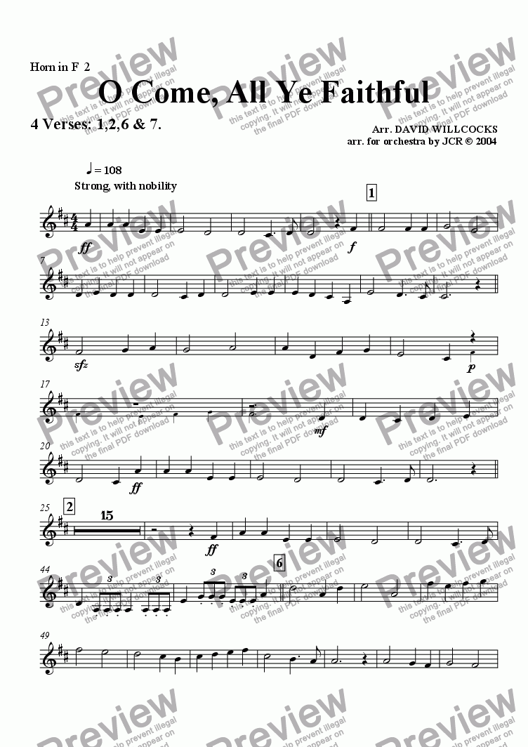 page one of the F Horn 2 part from O Come All Ye Faithful (Adeste Fidelis) - 4 verses