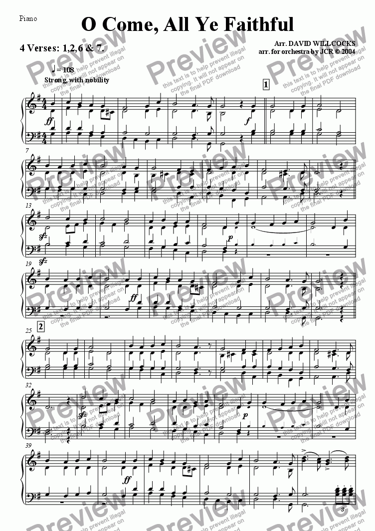page one of the Piano part from O Come All Ye Faithful (Adeste Fidelis) - 4 verses