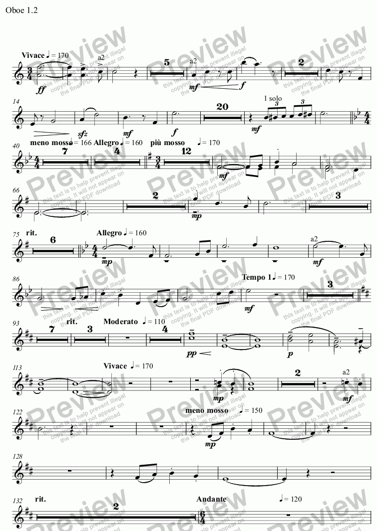 page one of the Oboe 1.2 part from Spring Tide
