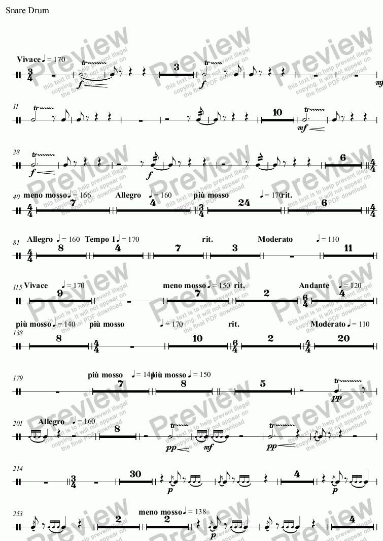 page one of the Snare Drum part from Spring Tide