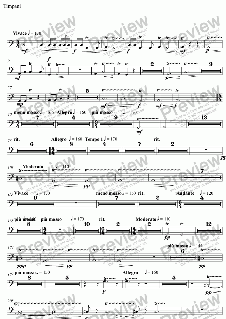 page one of the Timpani part from Spring Tide