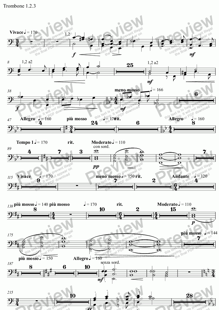 page one of the Trombone 1.2.3 part from Spring Tide