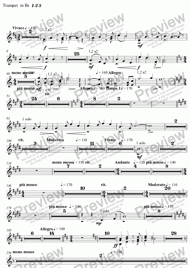 page one of the Trumpet  in Bb 1..2.3 part from Spring Tide