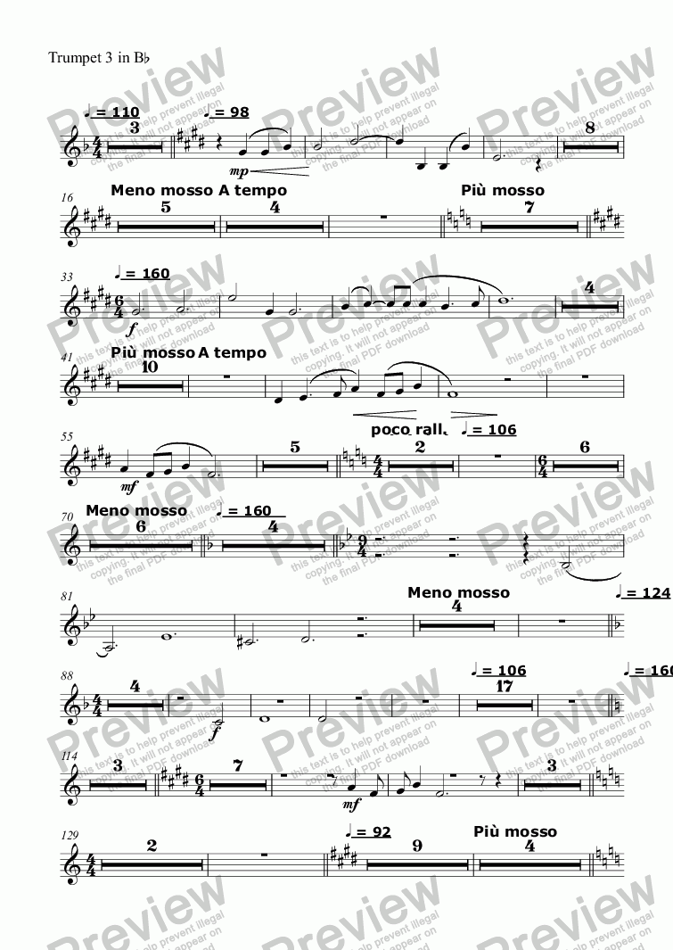page one of the Trumpet 3 in Bb part from Song and Anthem