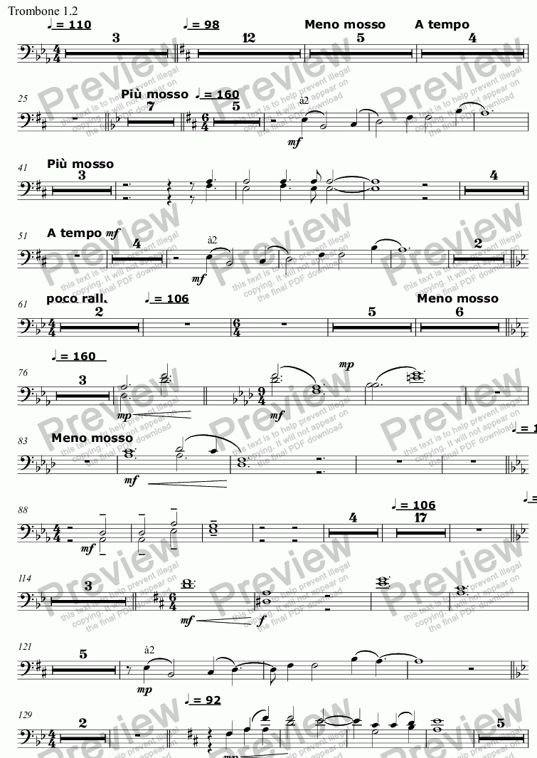 page one of the Trombone 1.2 part from Song and Anthem