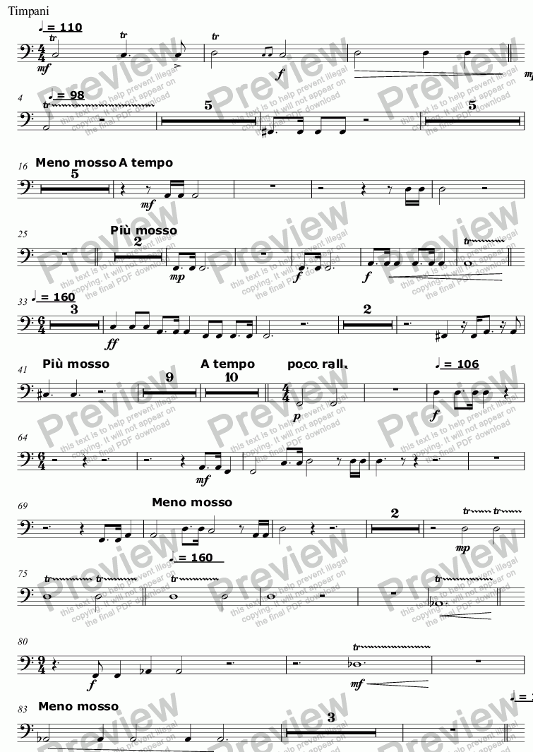 page one of the Timpani part from Song and Anthem