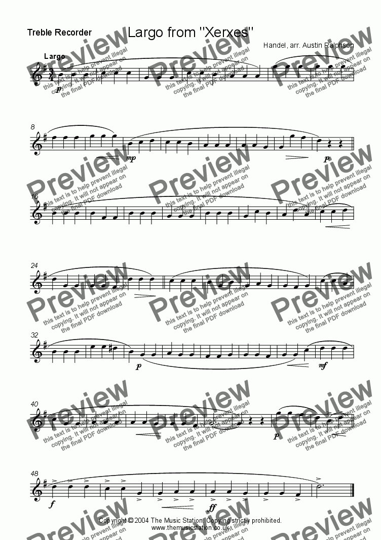 page one of the Treble part from Largo from Xerxes - recorder quartet
