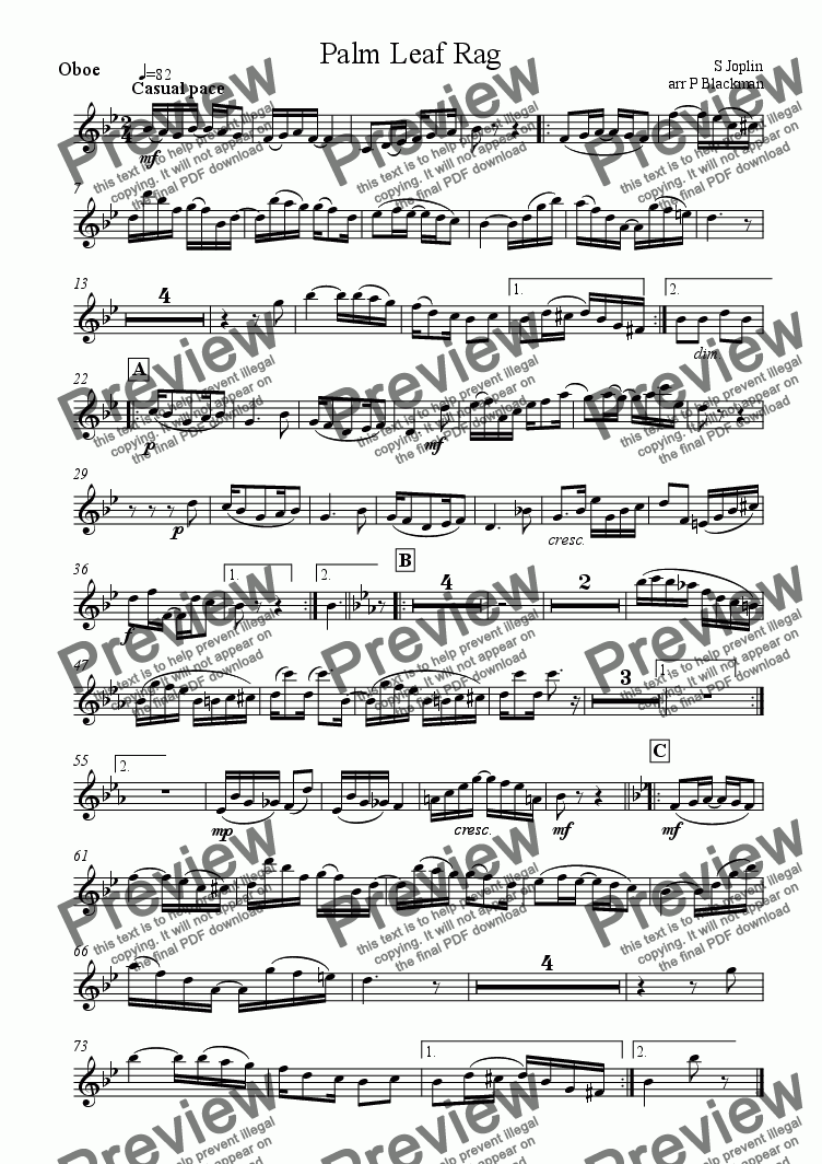 page one of the oboe part from Palm Leaf Rag (oboe)