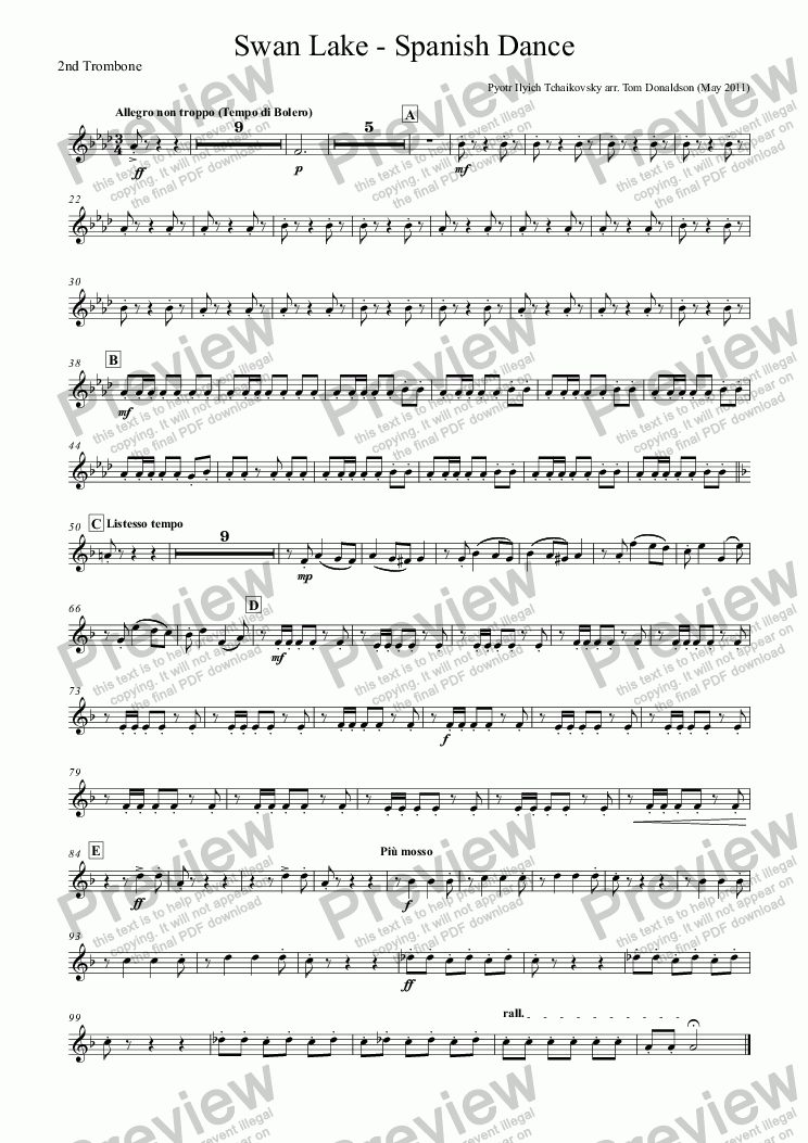 page one of the 2nd Trombone part from BRASS BAND - Swan Lake - Spanish Dance