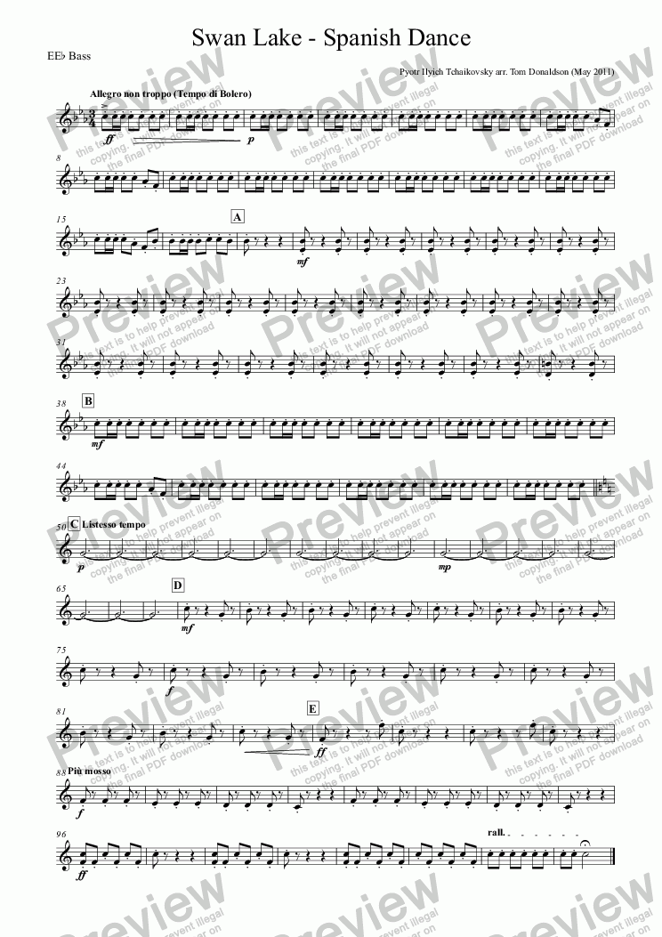 page one of the EE^b Bass part from BRASS BAND - Swan Lake - Spanish Dance
