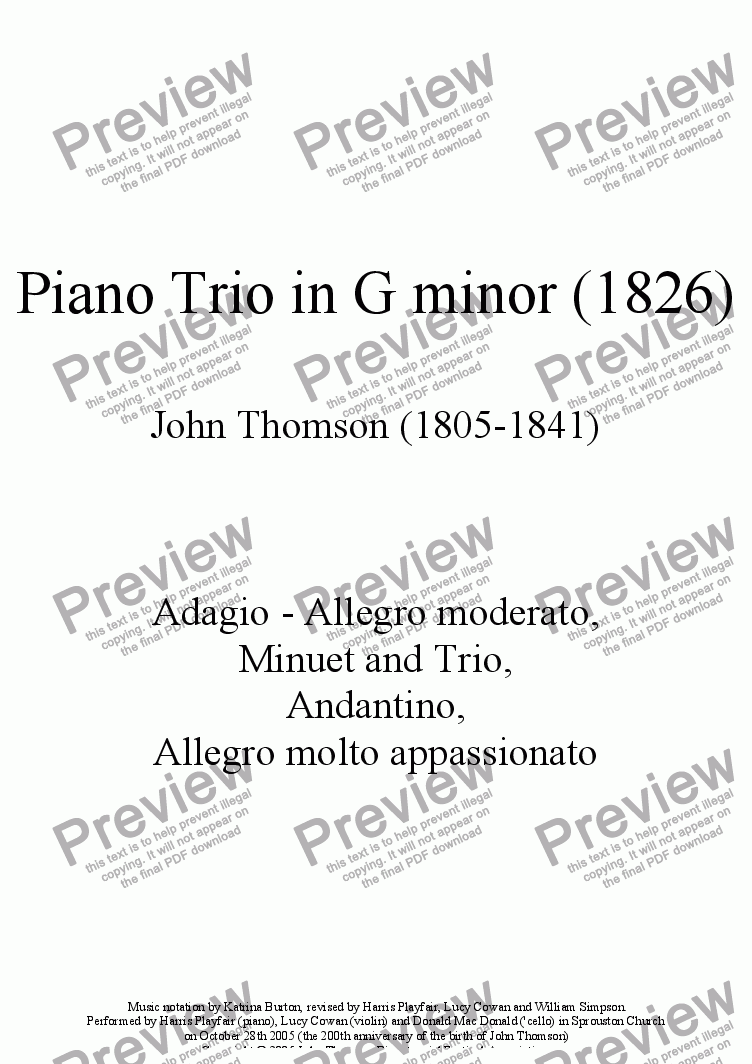 page one of the Piano part from Piano Trio in G minor (1826)