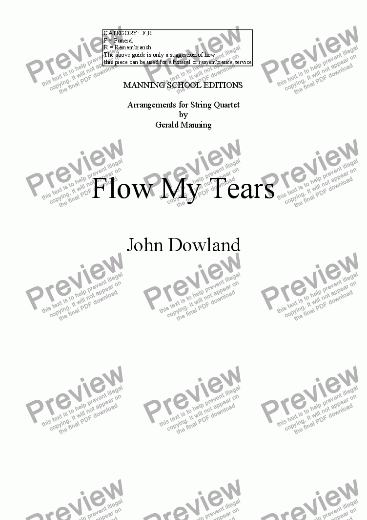 page one of the Viola part from DOWLAND, J. - Flow My Tears - arr. for String Quartet by Gerald Manning