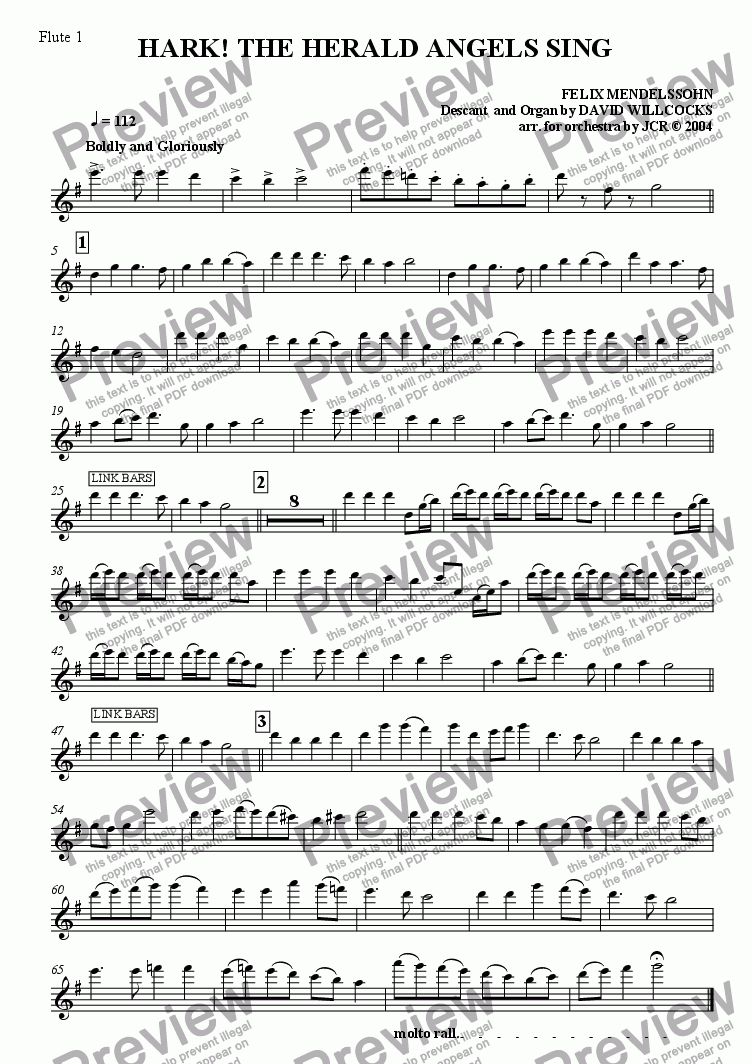 page one of the Flute 1 part from Hark The Herald Angels Sing