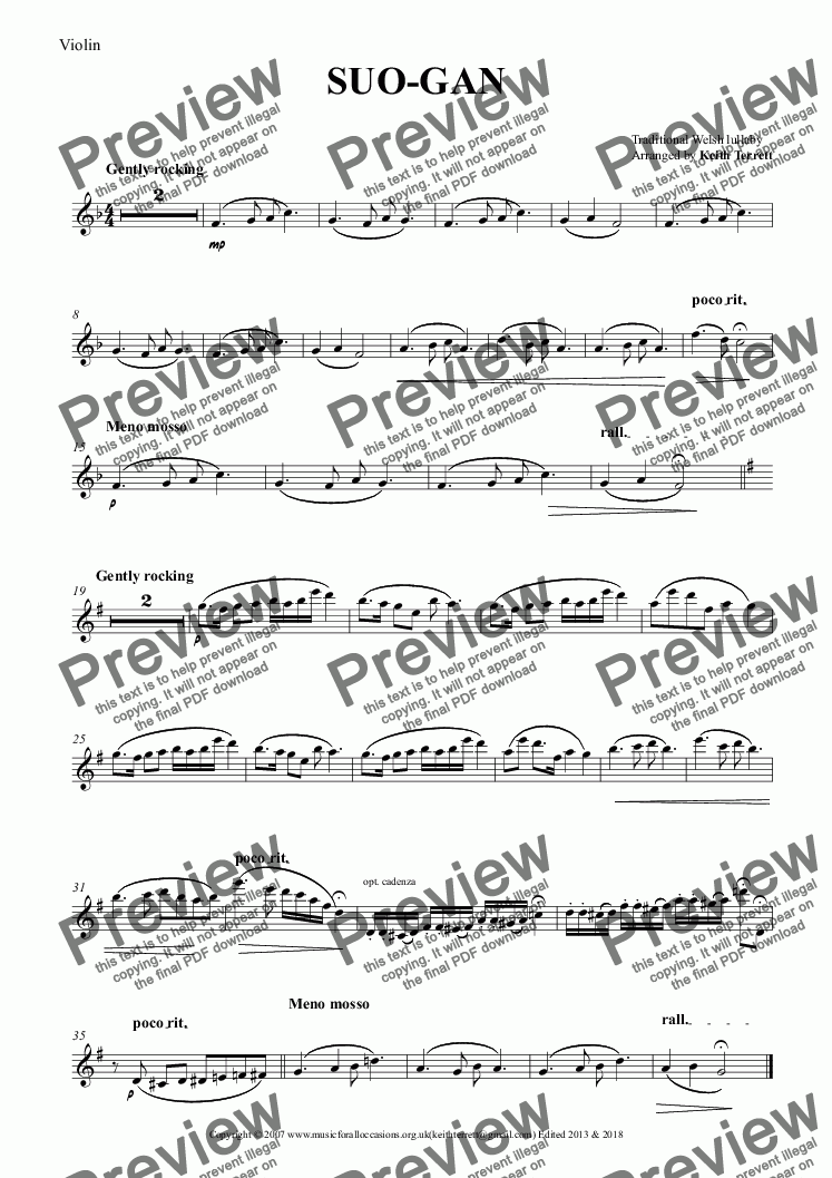 page one of the Violin part from SUO-GAN for Violin & Piano