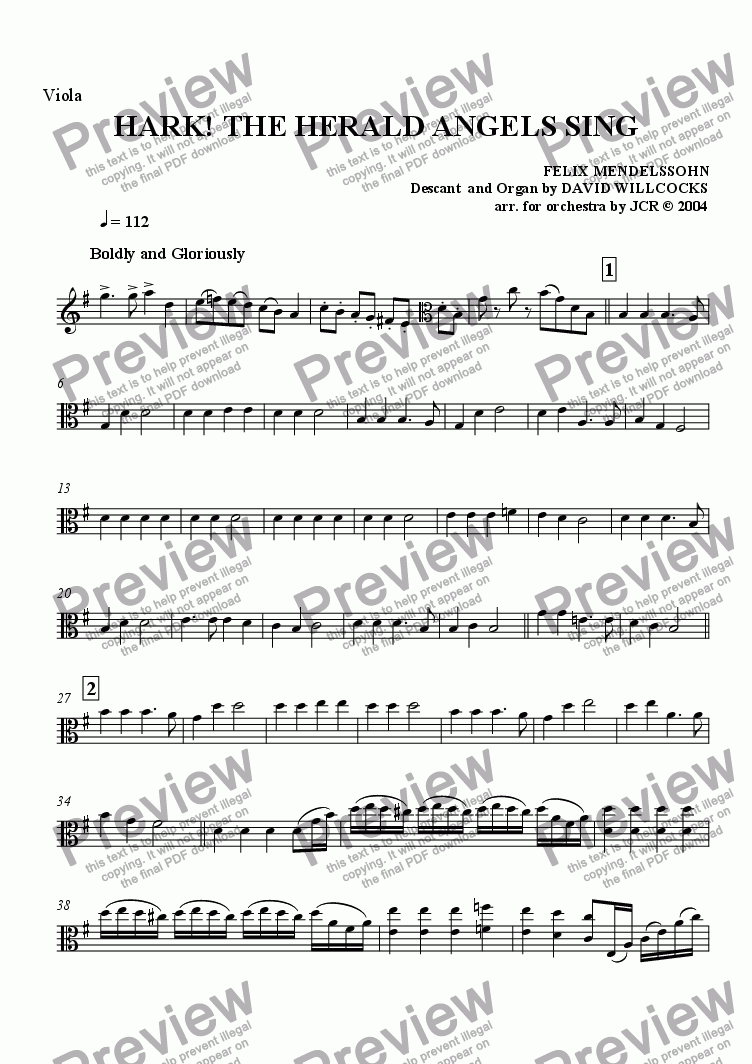 page one of the Viola part from Hark The Herald Angels Sing
