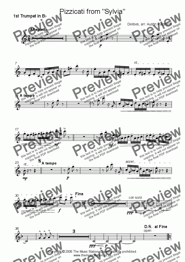 page one of the Trumpet  1 part from Pizzicati from 'Sylvia' - brass quintet