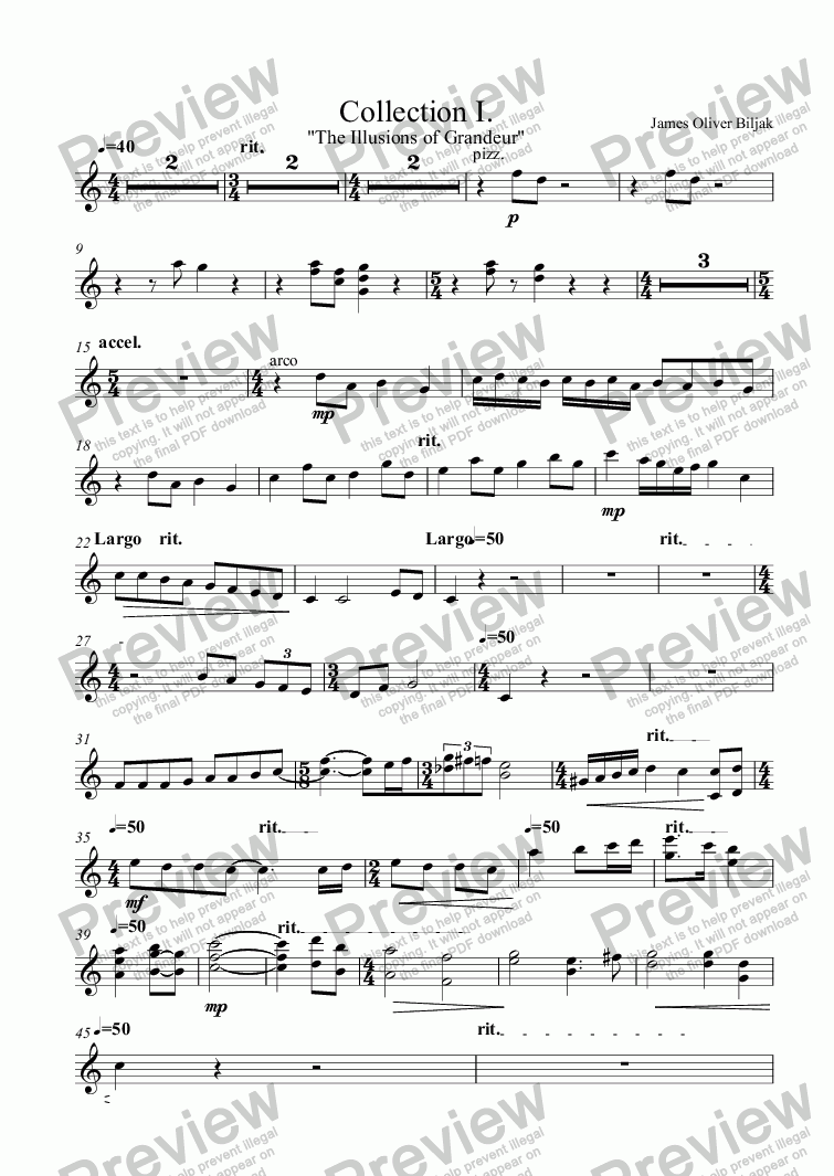 page one of the Violin I part from III. Paradise Lost