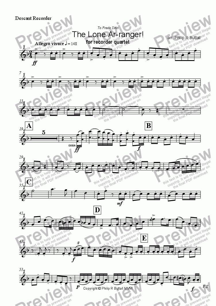 page one of the Descant Recorder part from The Lone Ar-ranger! (Recorder Quartet)