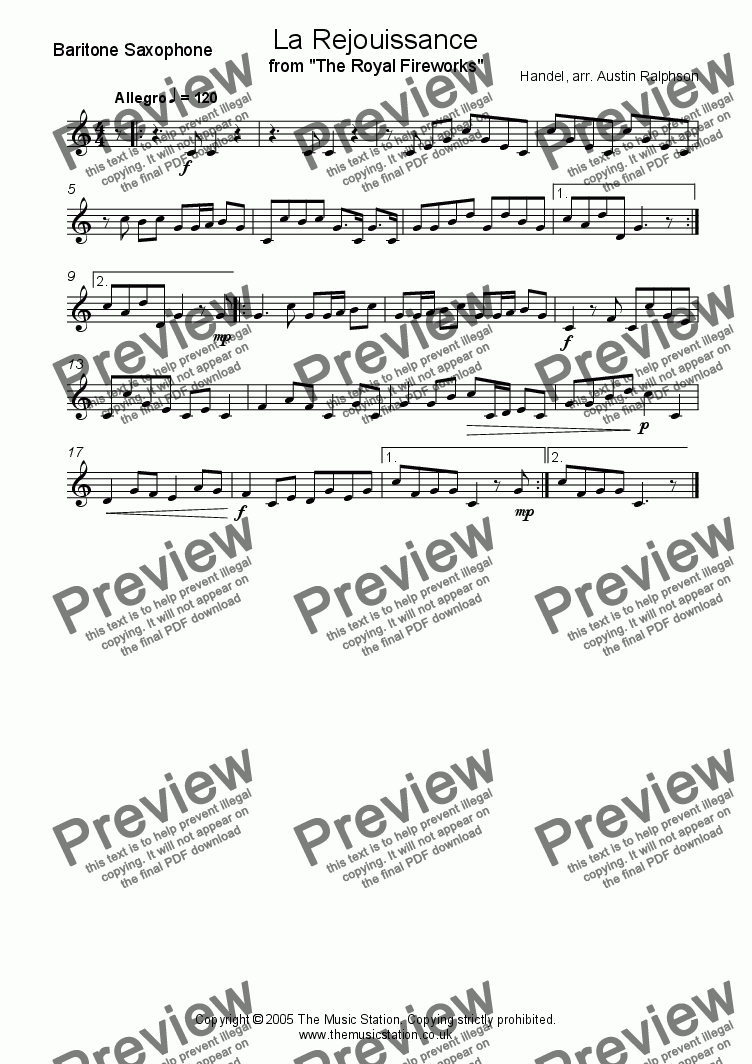 page one of the Baritone part from La Rejouissance (Fireworks) - sax quartet