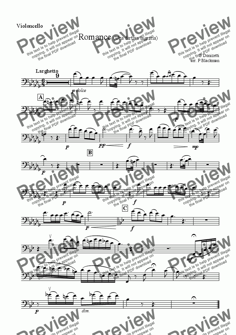 page one of the Cello part from Una Furtiva Lagrima (strings)