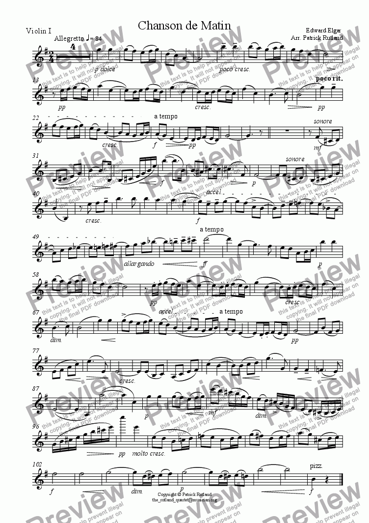 page one of the Violin 1 part from Chanson de Matin Elgar