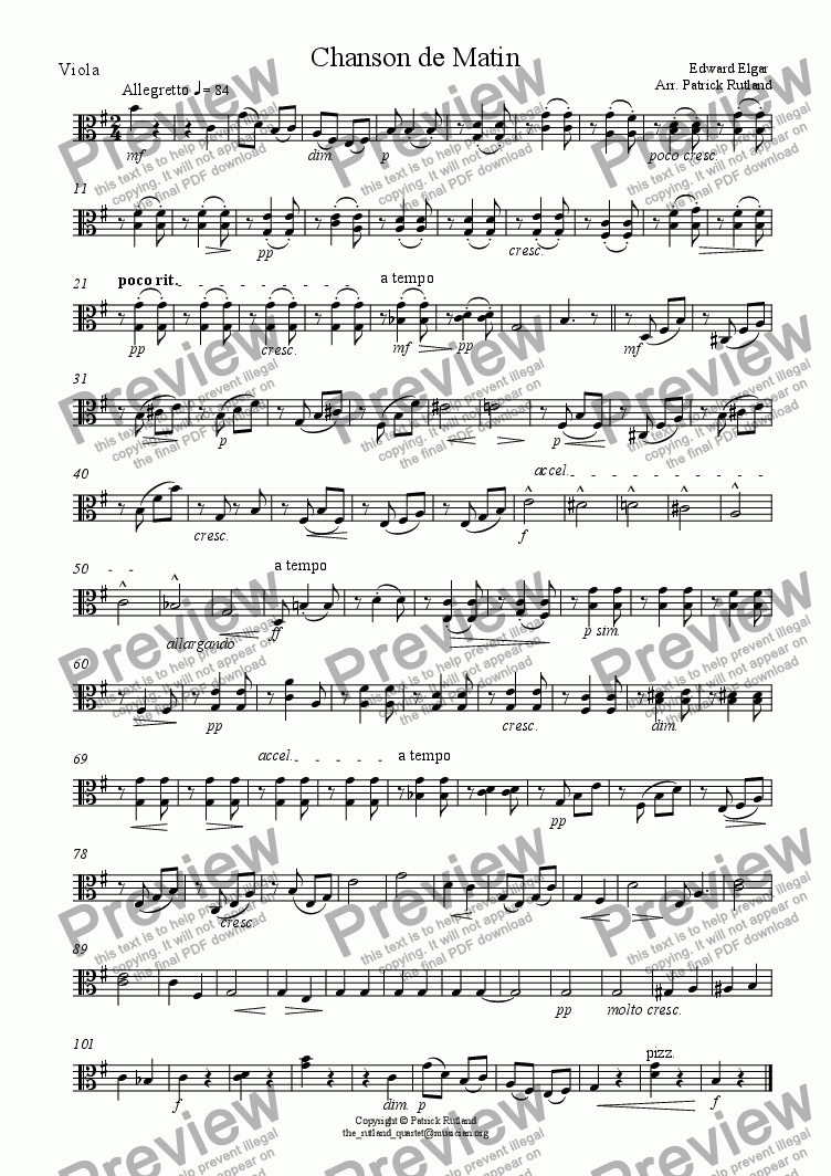 page one of the Viola part from Chanson de Matin Elgar