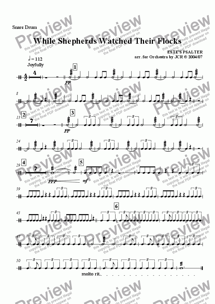 page one of the Snare Drum part from While Sheperds Watched Their Flocks By Night