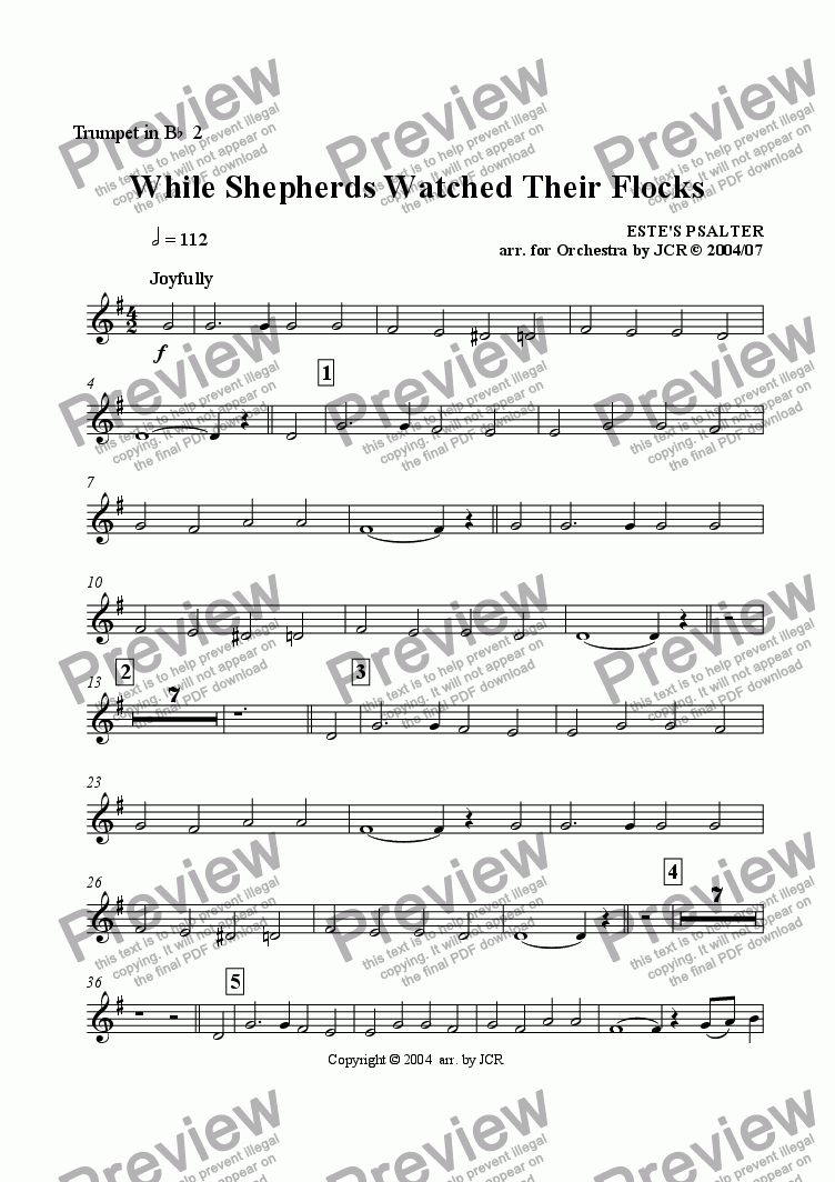 page one of the Trumpet 2 part from While Sheperds Watched Their Flocks By Night