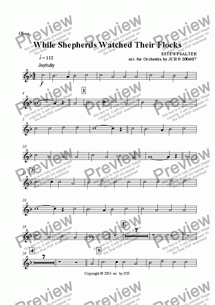 page one of the Oboe part from While Sheperds Watched Their Flocks By Night