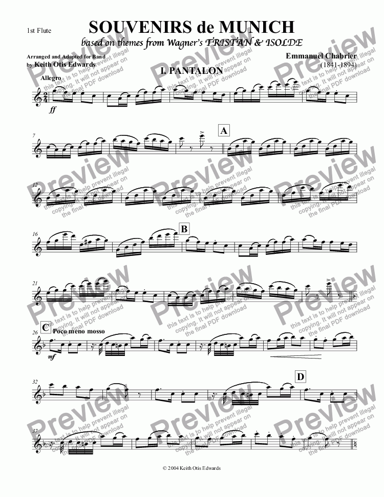 page one of the Flute 1, 2 part from Souvenirs de Munich: A Quadrille based on Favorite Themes from Tristan & Isolde by Richard Wagner