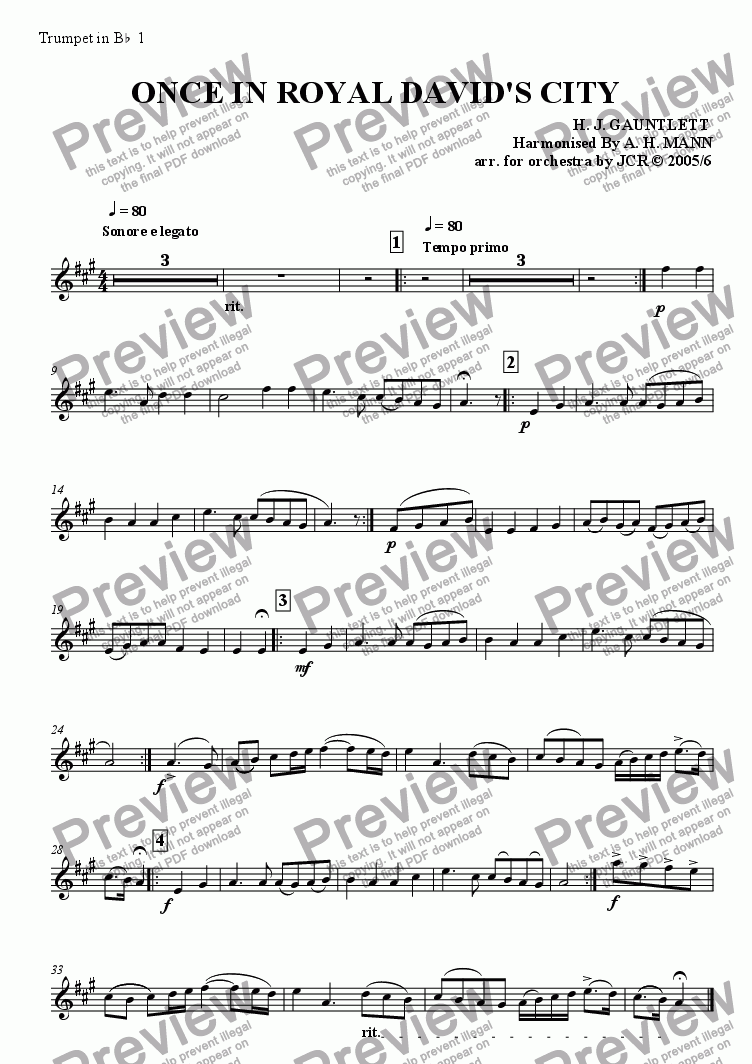 page one of the 1st Trumpet in Bb part from Once In Royal David's City
